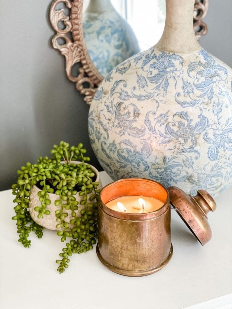 DIY Candle from a Thrifted Brass Canister