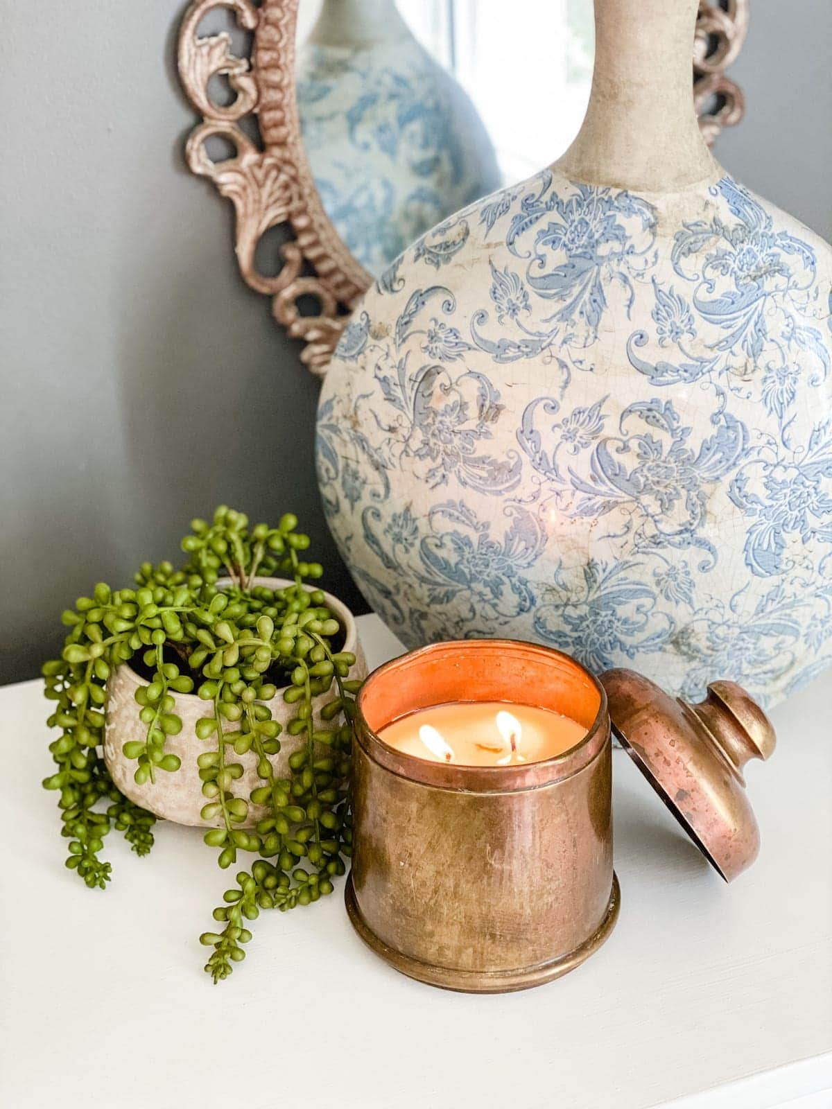 DIY candle made from a thrifted canister