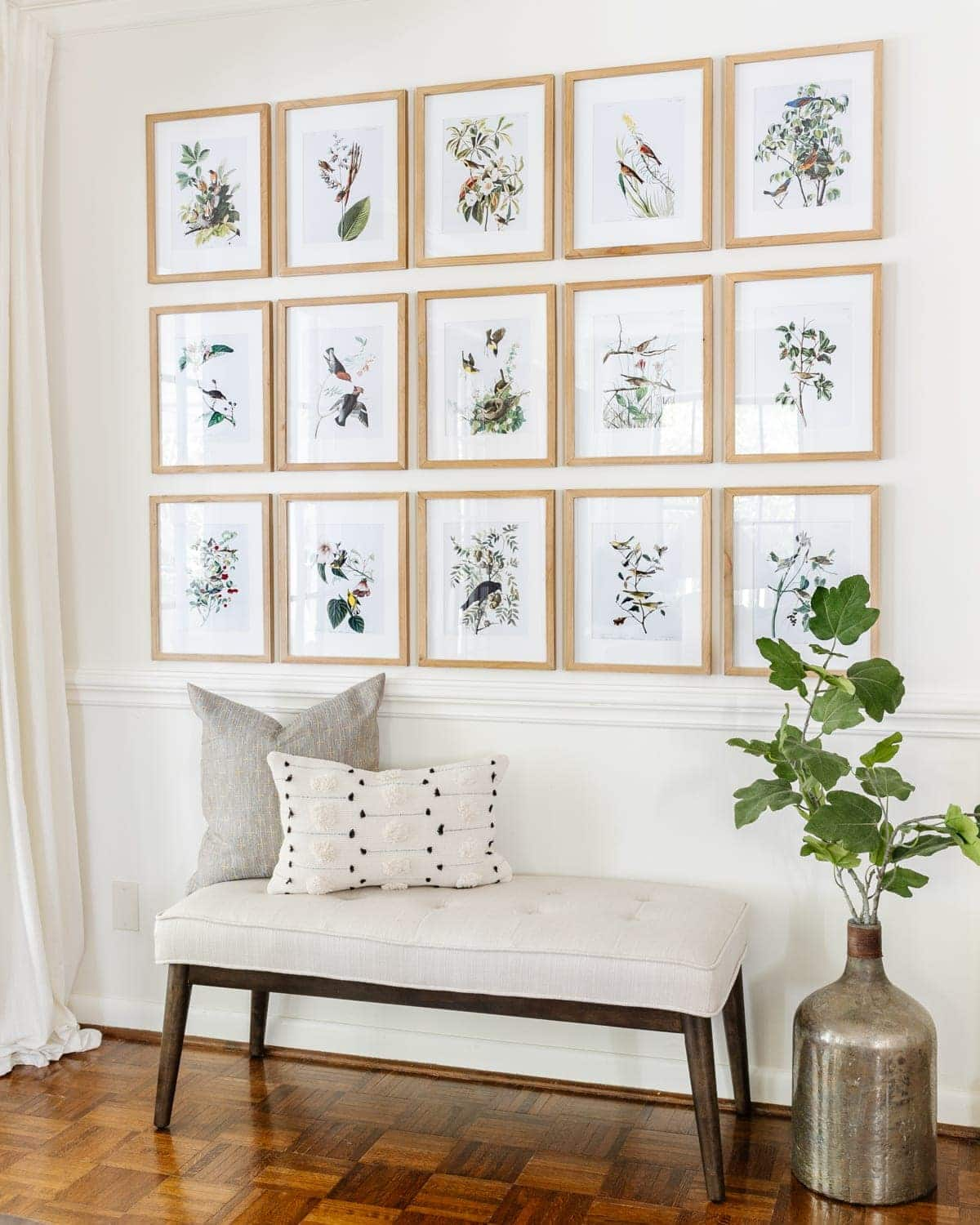 gallery wall with free printable wall art from the public domain