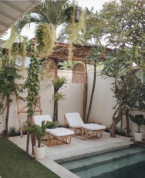 boho pool cabana with rattan and bamboo