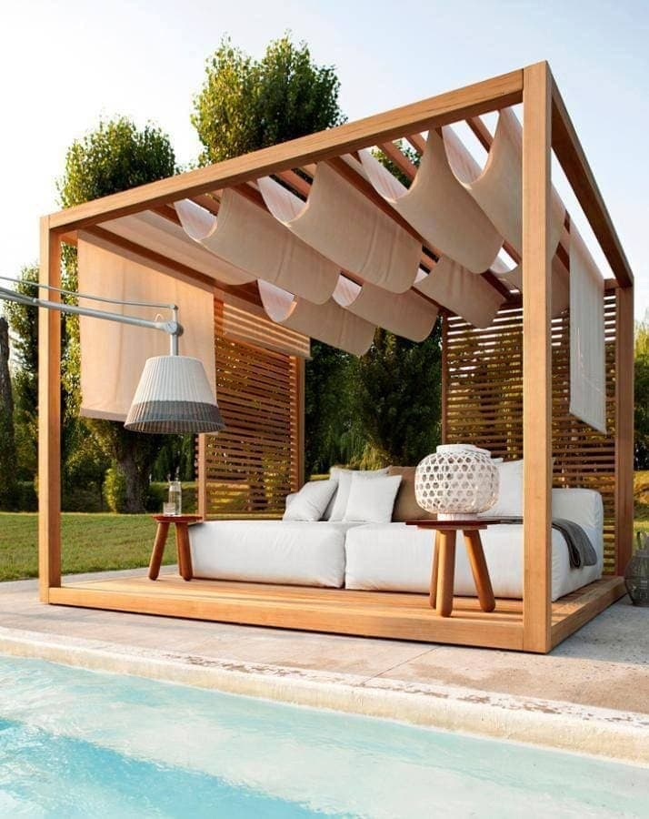 pool cabana with wood slat wall and white cover