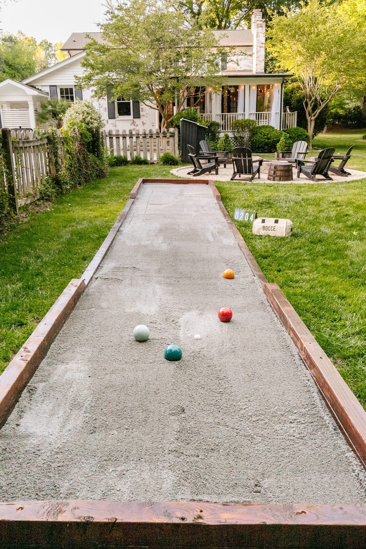diy bocce ball court finished