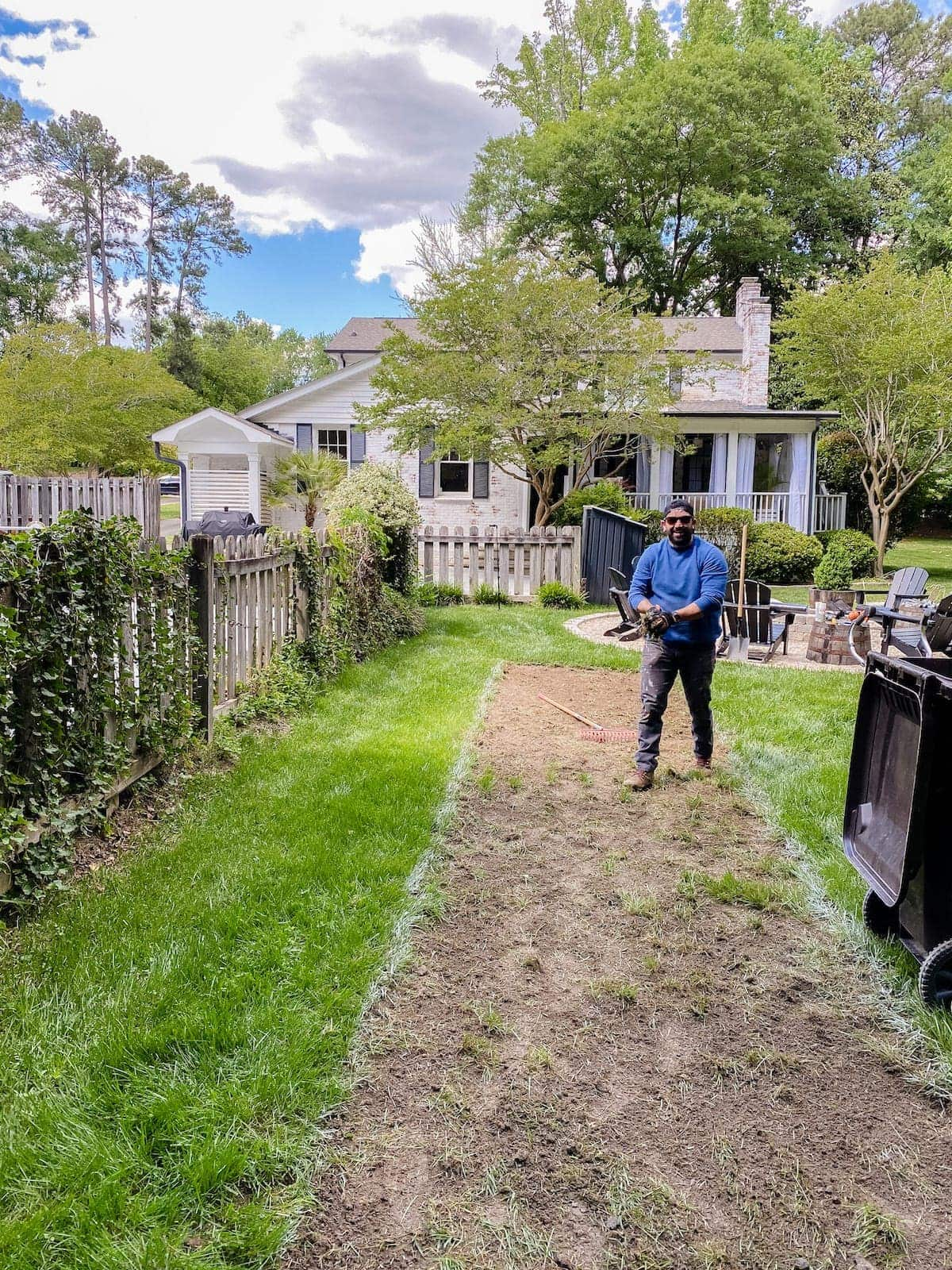 removing soil and grass for a bocce ball court