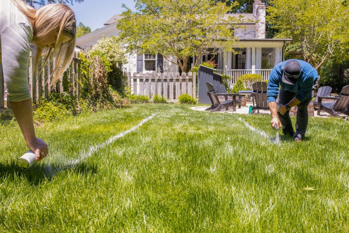 marking with spray paint for a bocce ball court