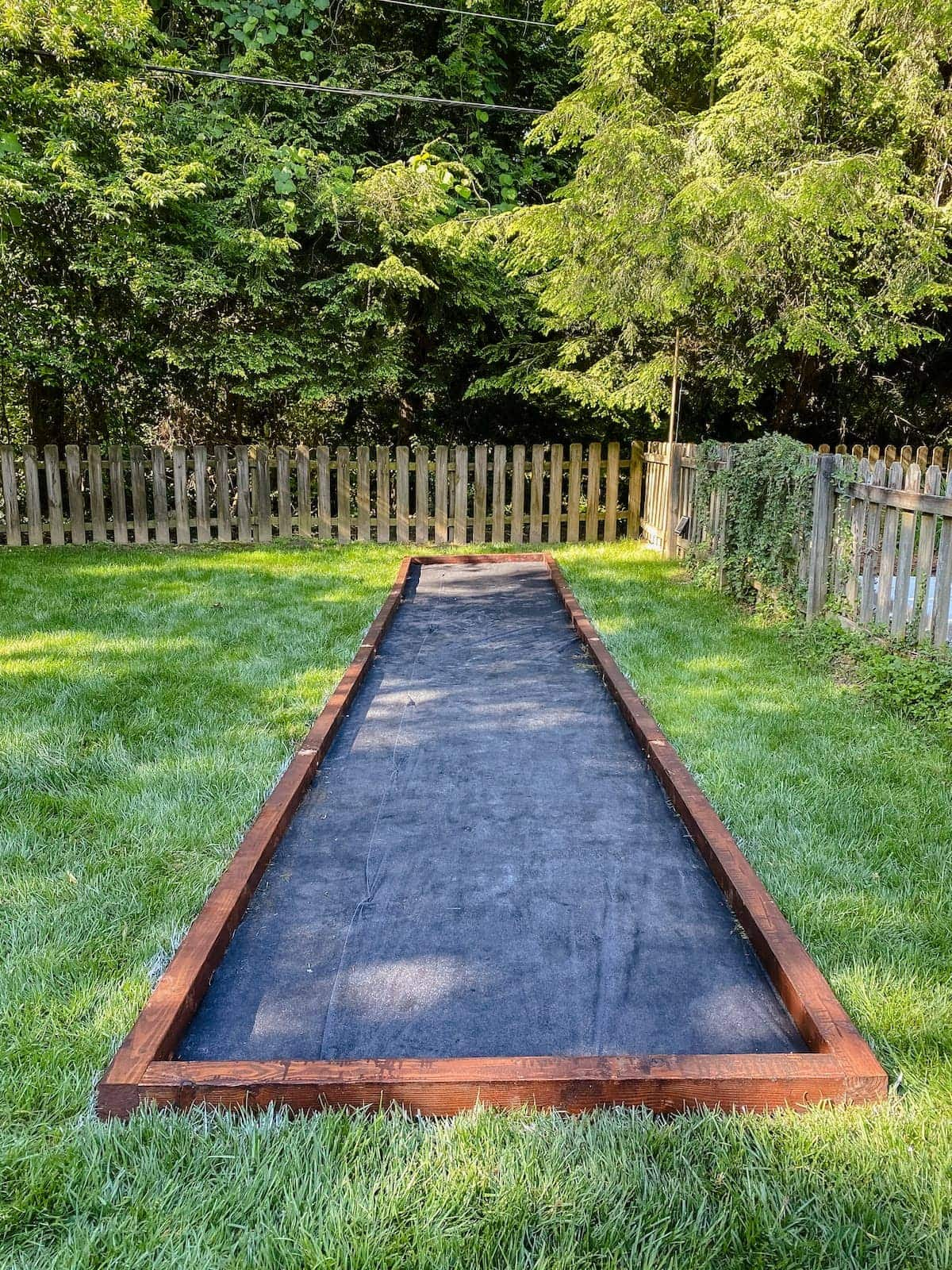 bocce ball court frame and weed fabric base