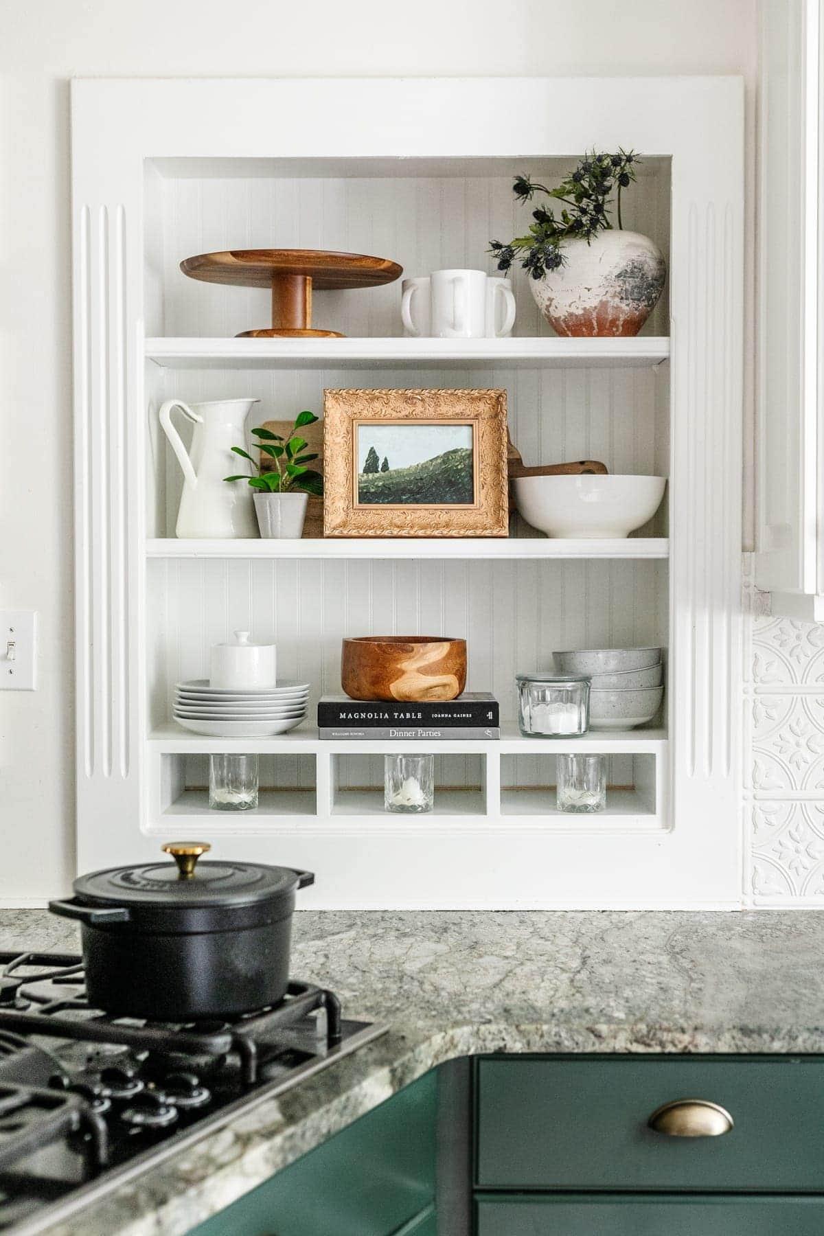 kitchen shelf decor with DIY art painting