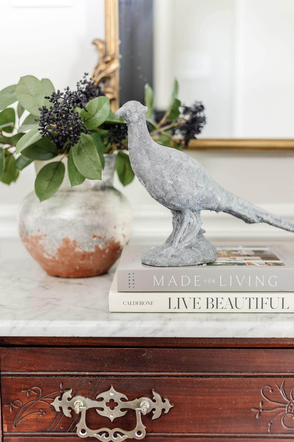 homemade stone sculpture using DIY texture paint with baking soda