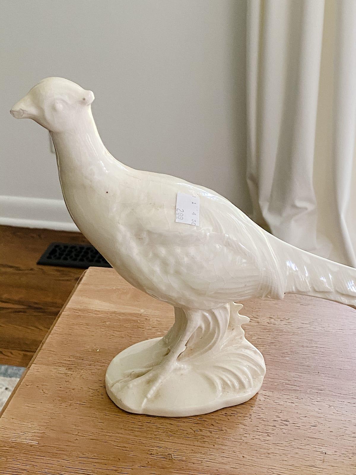 thrifted pheasant figurine