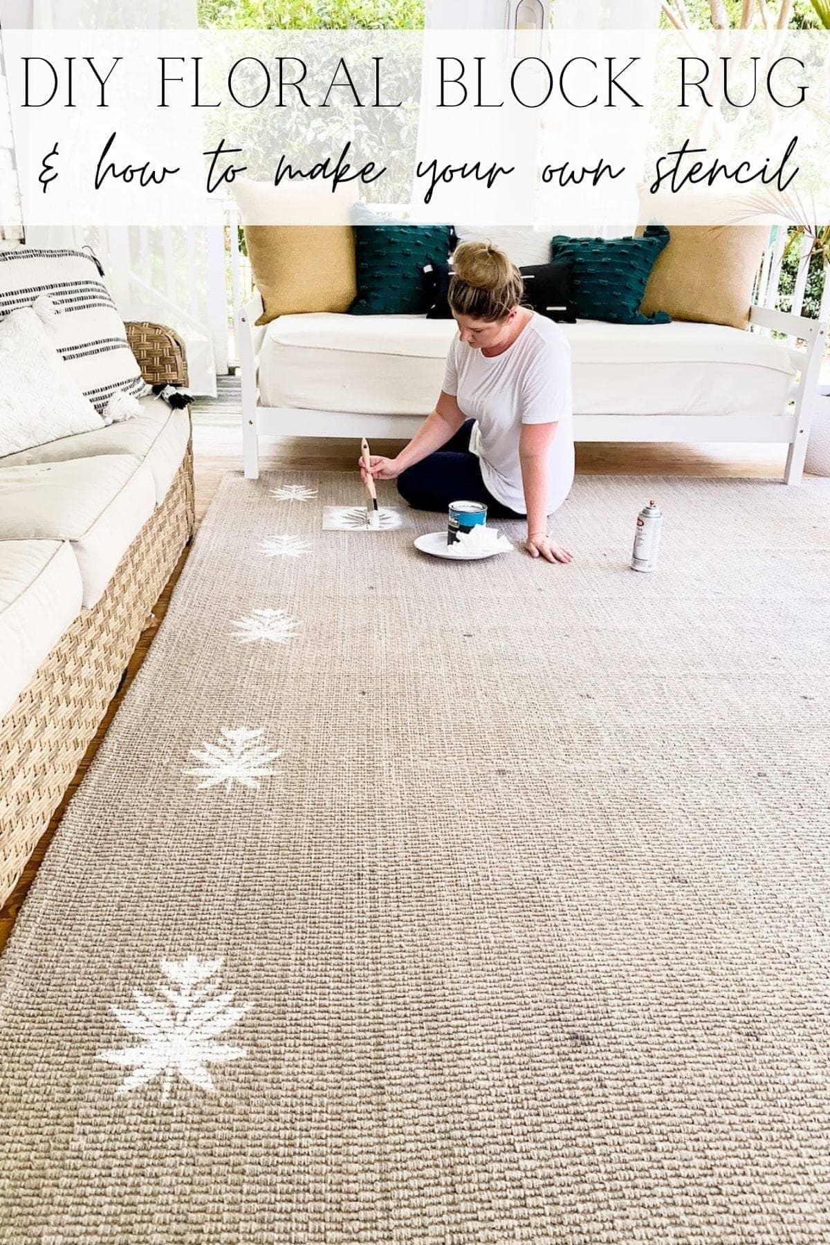 floral block diy outdoor rug