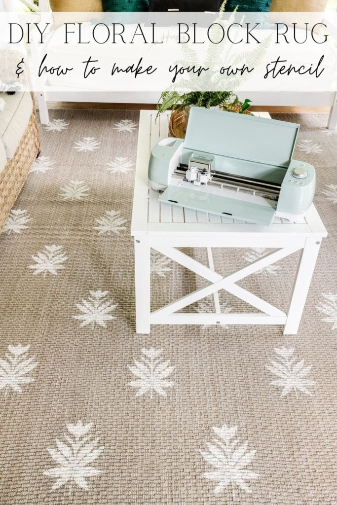 floral block DIY rug and how to make your own stencil