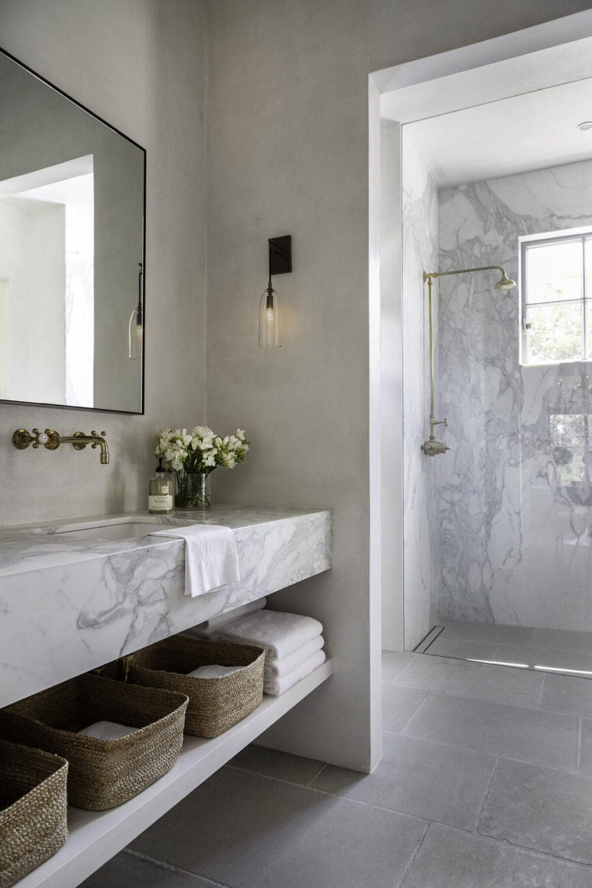 timeless bathroom with marble and European plaster walls