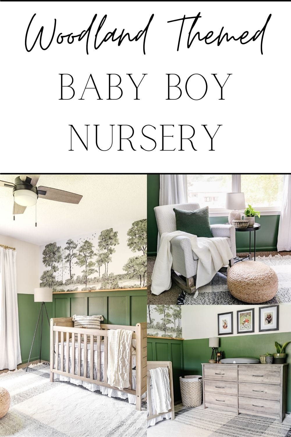 woodland themed baby boy nursery with green paint, forest wall mural, and plaid