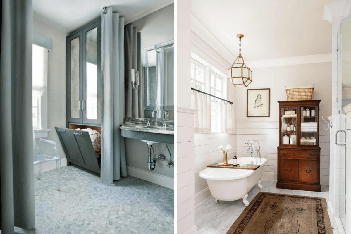 built in linen cabinet vs freestanding vintage linen cabinet in a bathroom