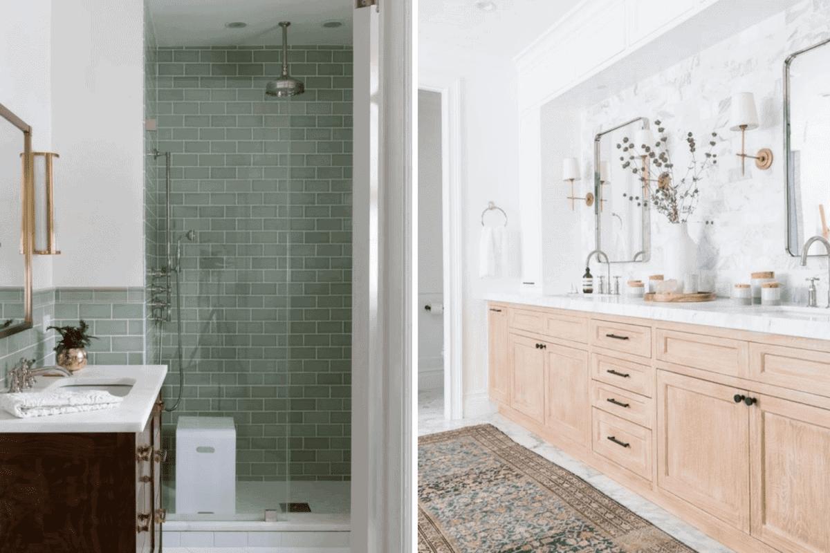 colorful tiles vs neutral tiles in a bathroom