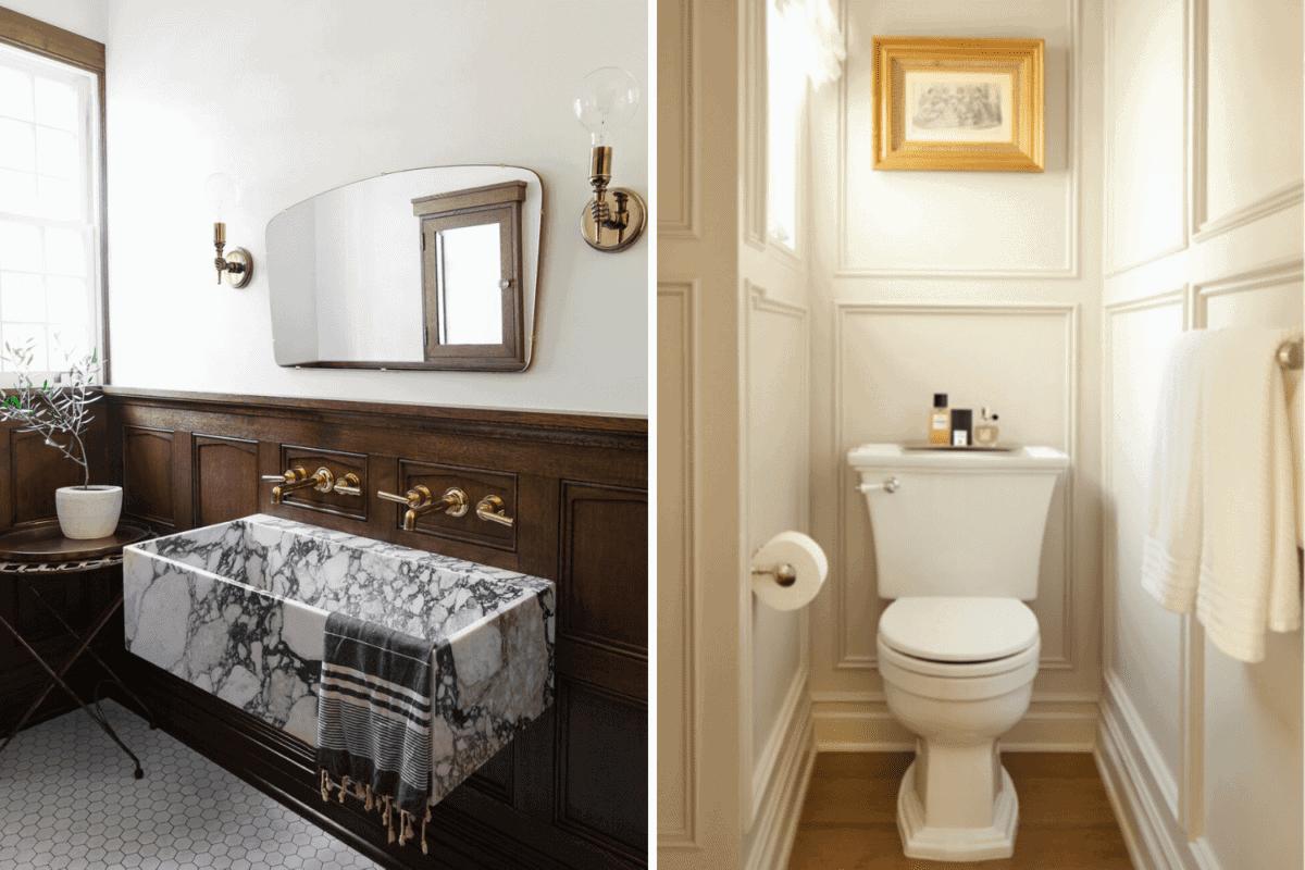 double sink vs toilet closet in a bathroom