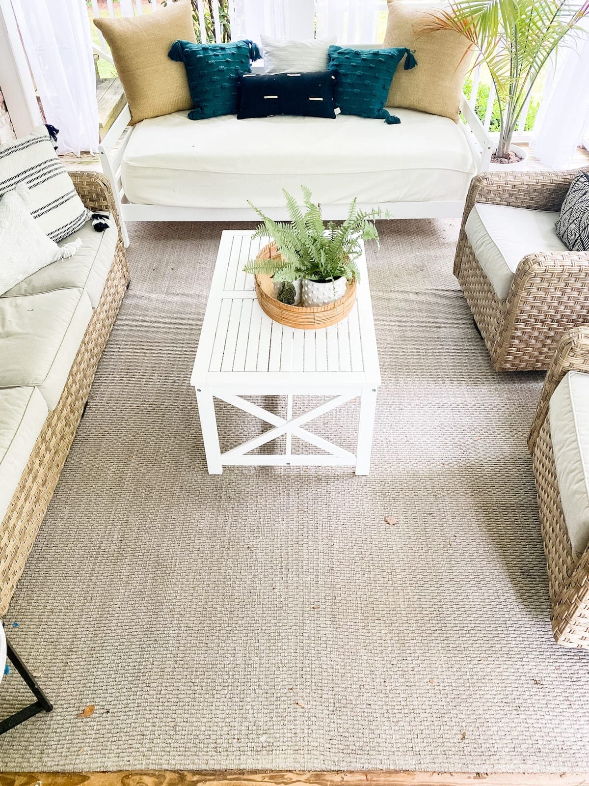 plain outdoor rug before