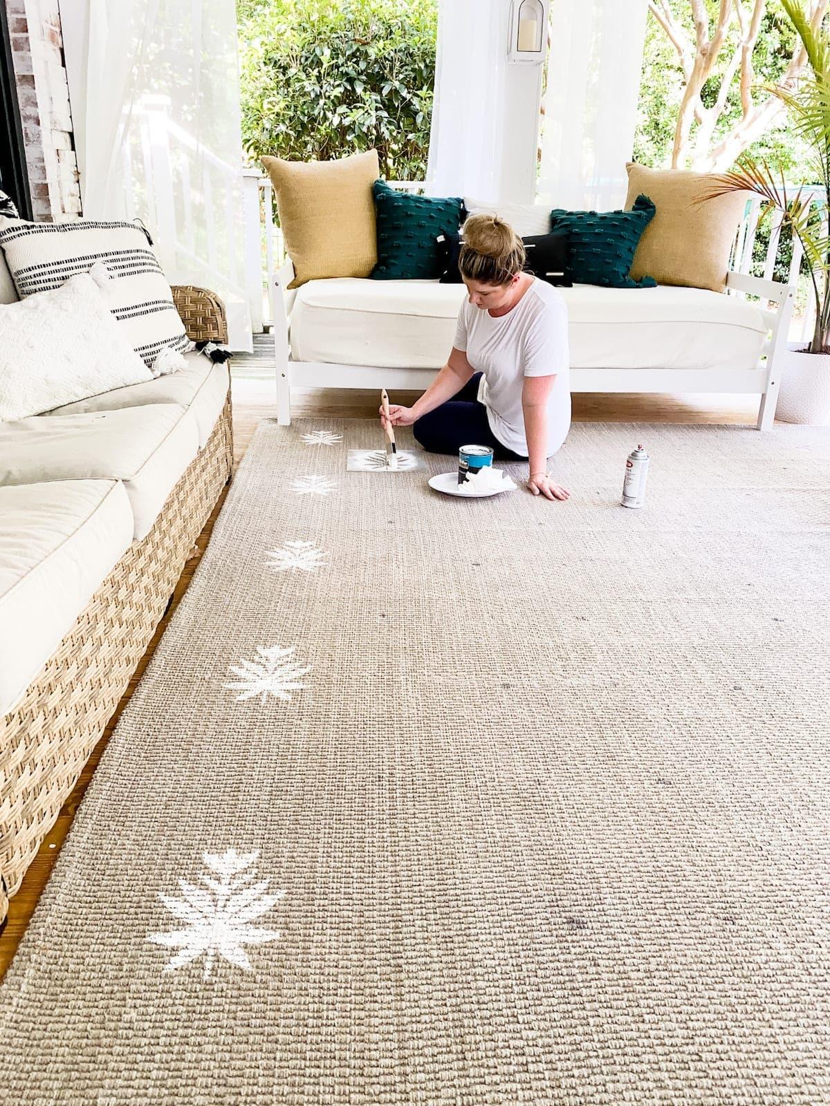 DIY floral block rug
