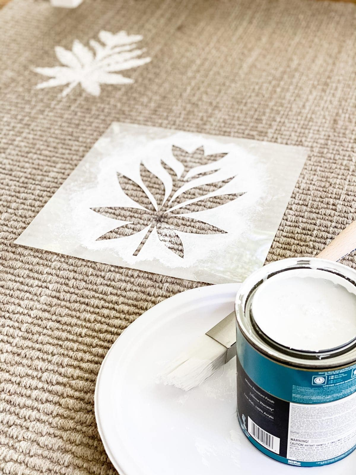 DIY floral block pattern on an outdoor rug