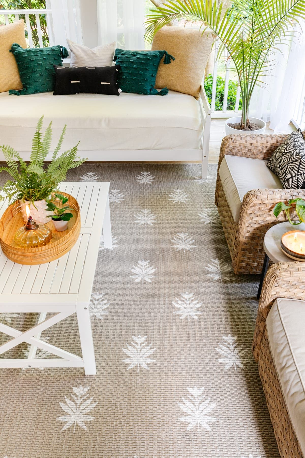 stenciled outdoor rug using a Cricut machine