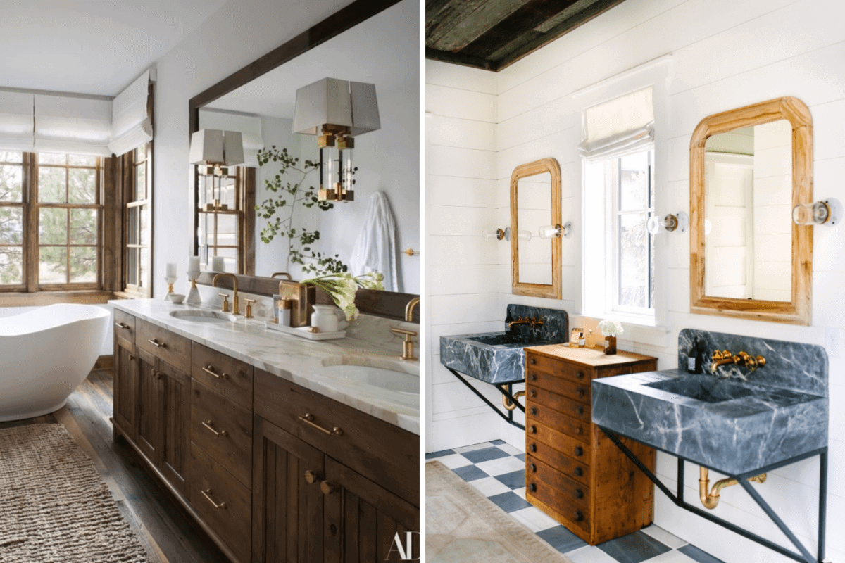 large mirror vs double mirrors in a bathroom