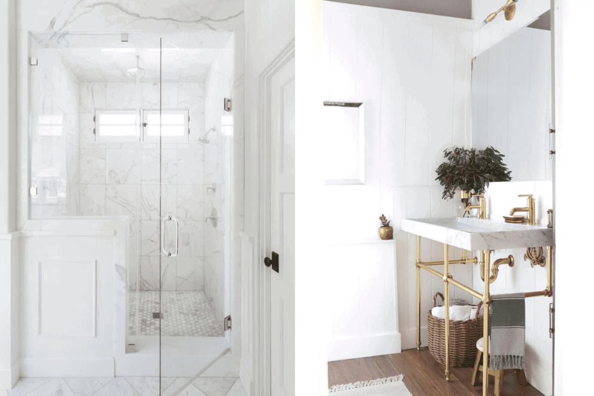 large shower vs double sink in a bathroom
