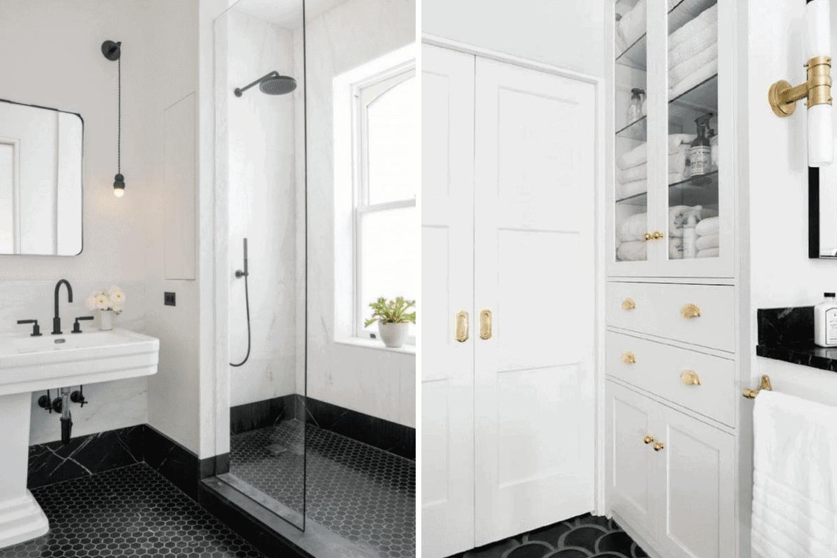 large shower vs linen cabinet in a bathroom