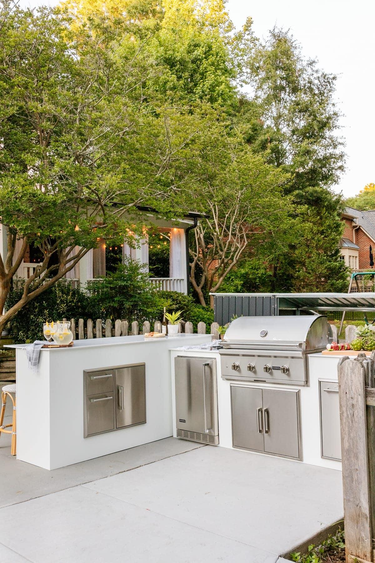 modular outdoor kitchen in a backyard