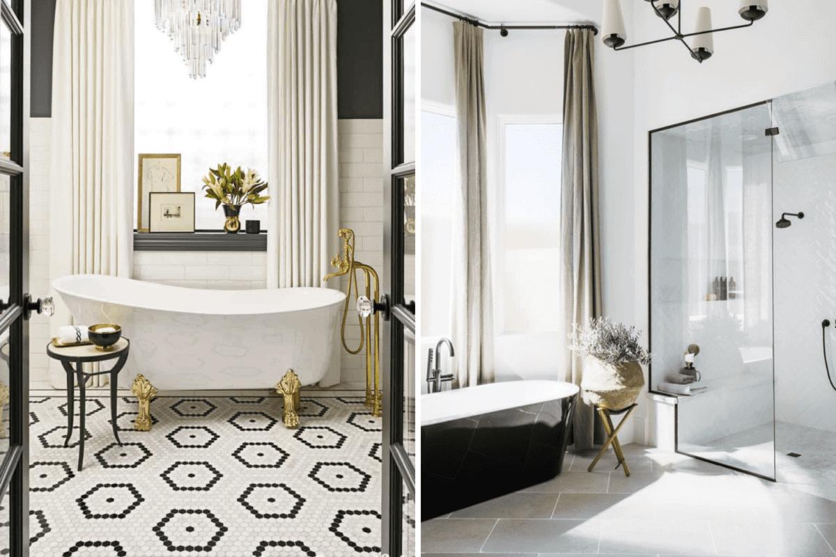 patterned tile vs simple tile in a bathroom