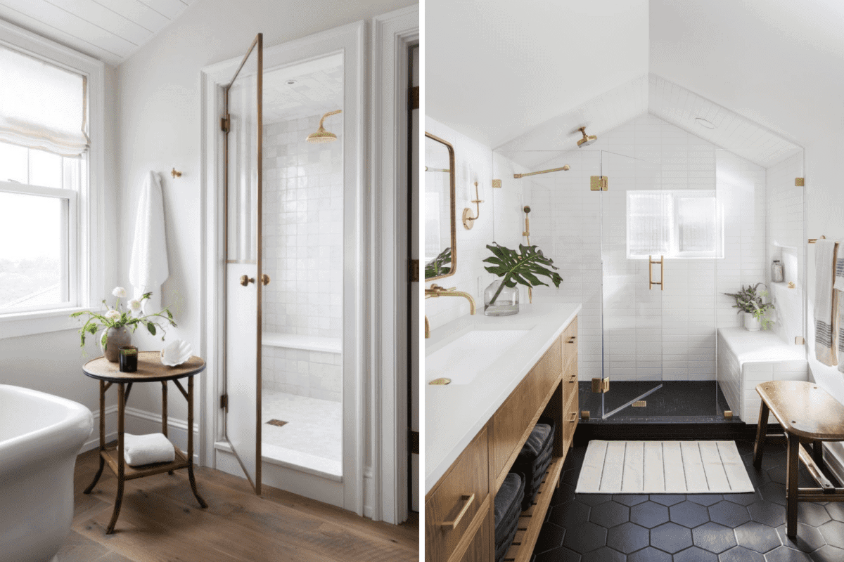 enclosed shower room vs glass shower in a bathroom