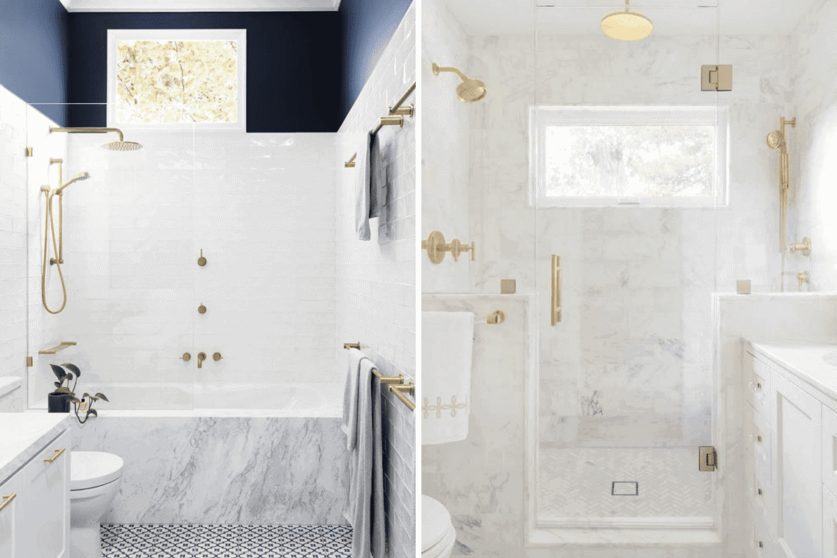 tub shower combo vs large shower in a bathroom