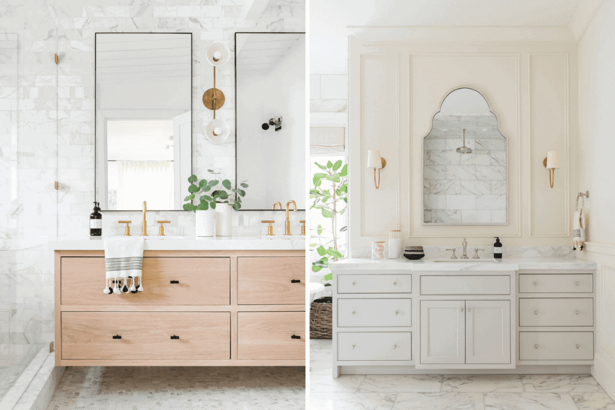wall tile vs wall millwork in a bathroom