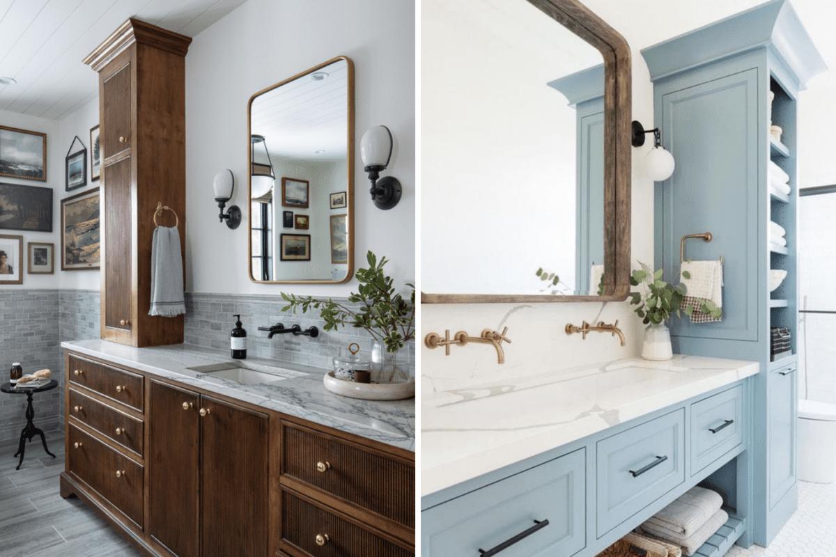 wood vanity vs painted vanity in a bathroom