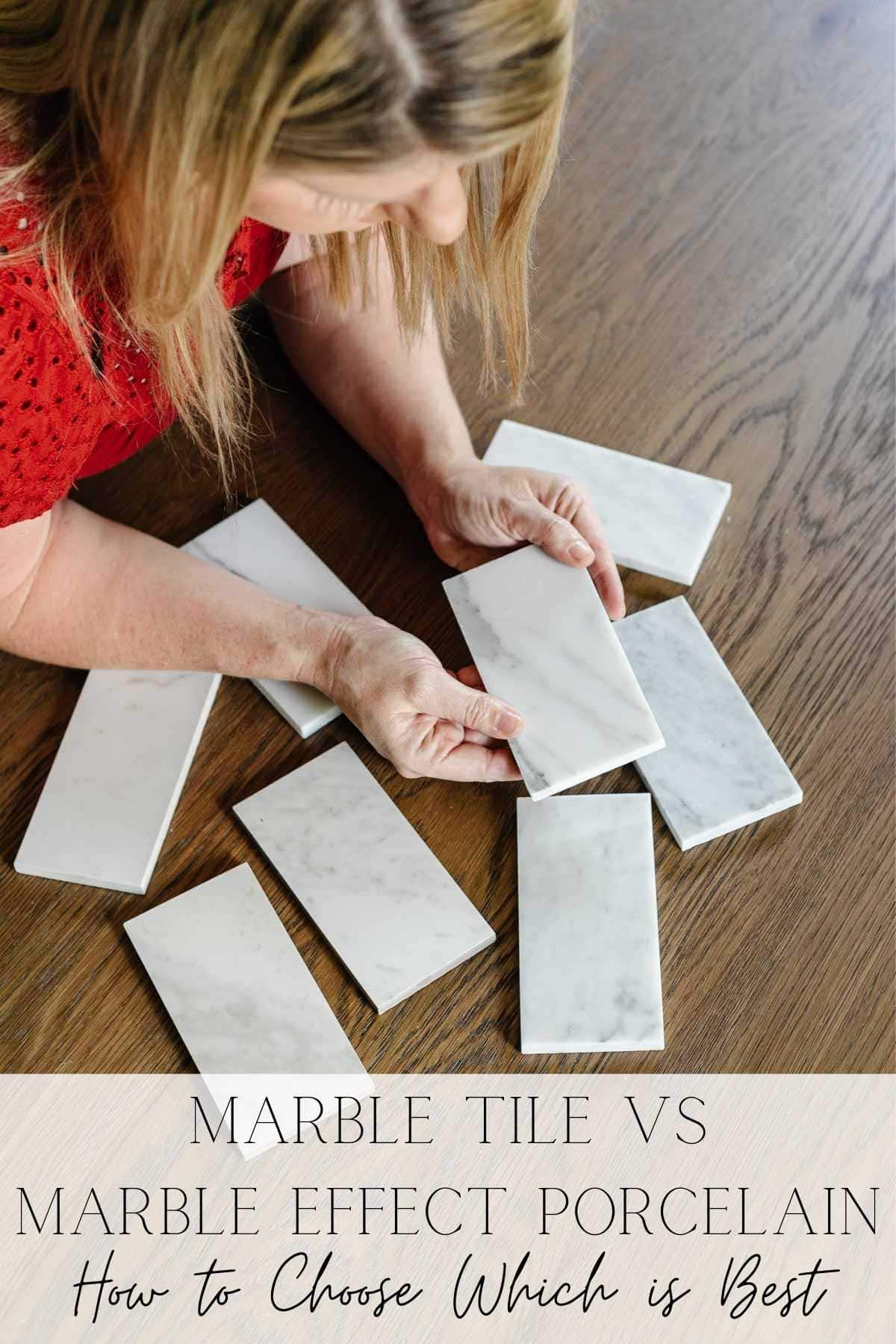 Marble Tile vs Marble Effect Porcelain Tile | The pros and cons of marble tile against marble effect porcelain tile and how to know which is best for your kitchen or bathroom remodel.