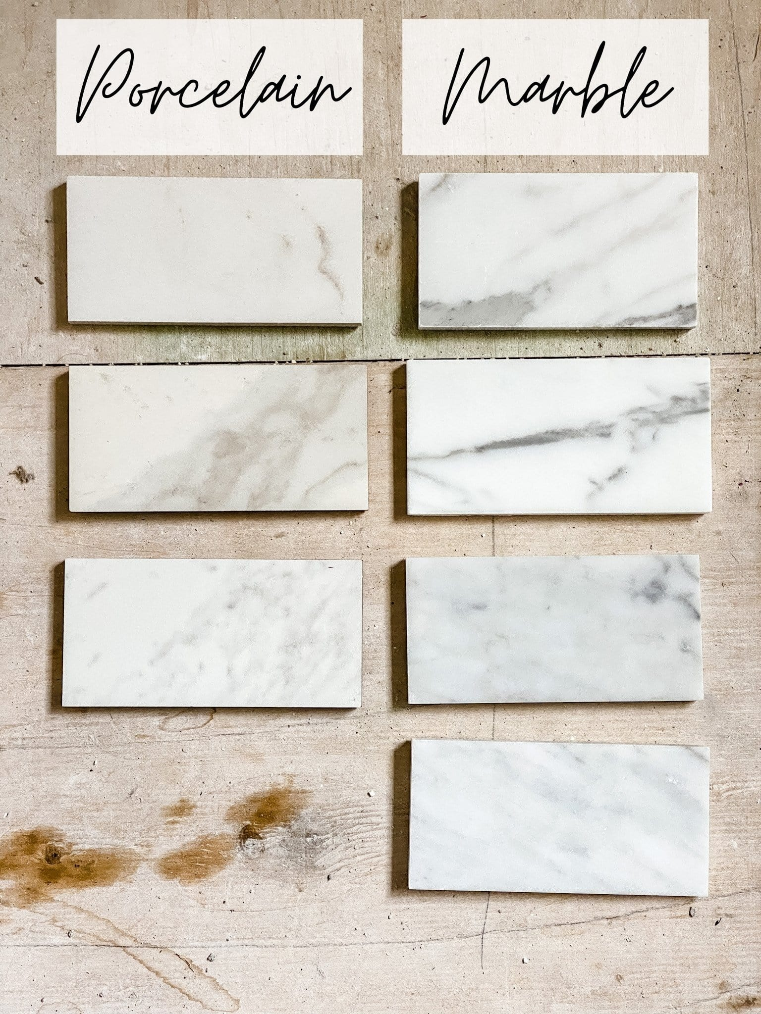 comparing marble tile with porcelain marble effect tile