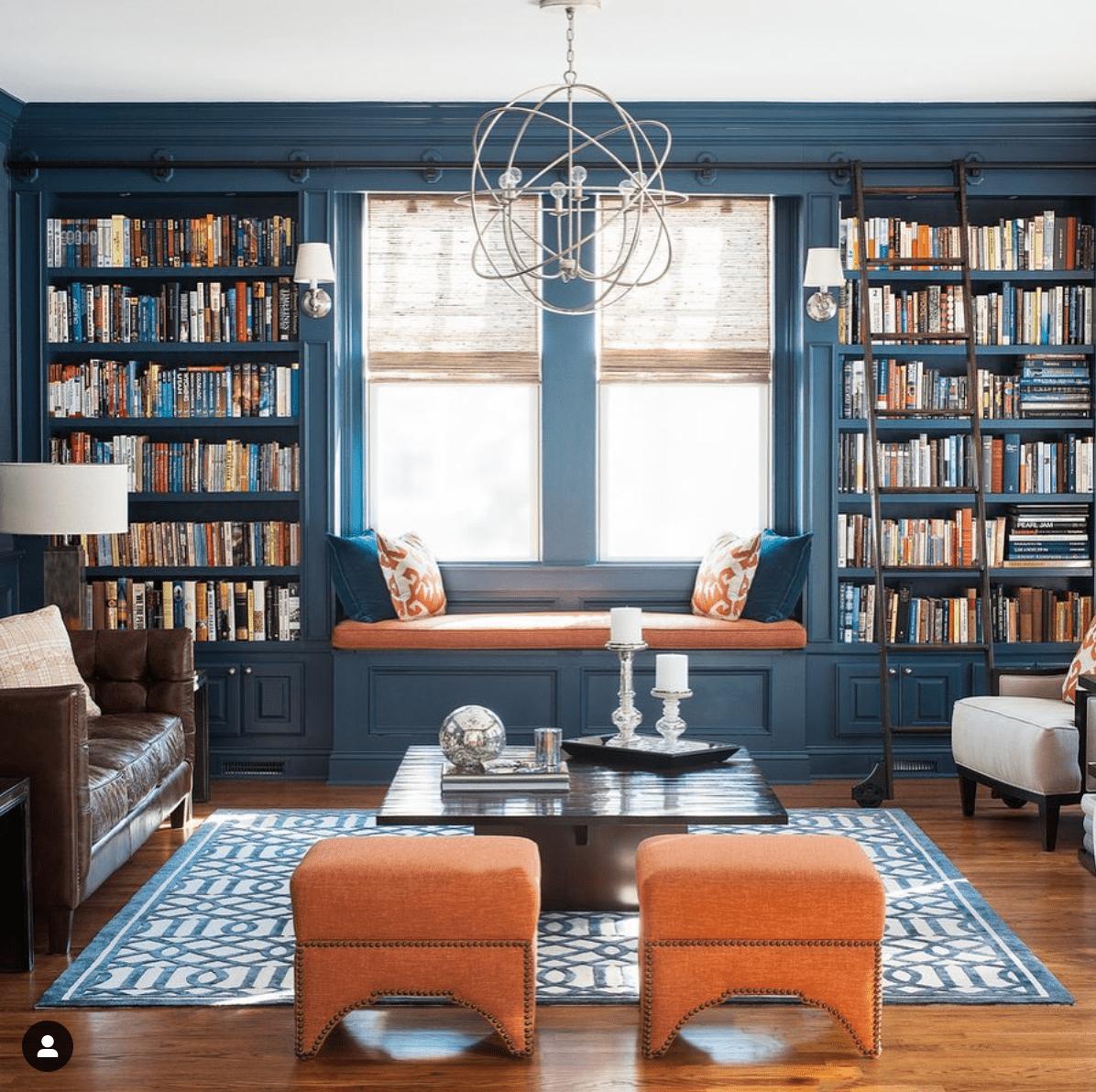 Benjamin Moore Newportbury Blue - Cory Connor Designs - dark blue paint in a study