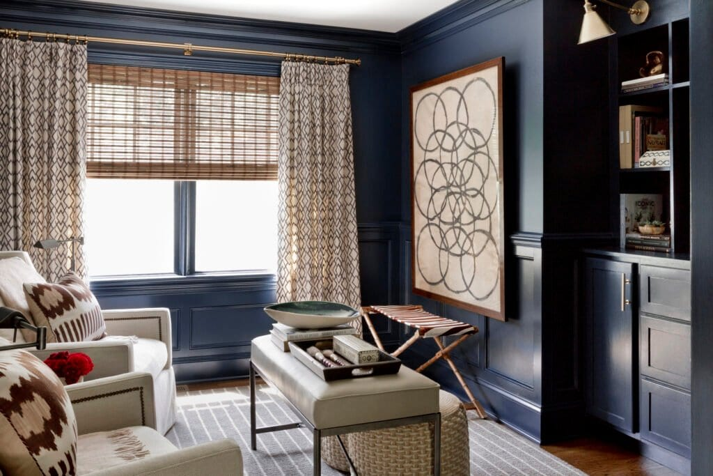 Benjamin Moore Polo Blue - Becca Interiors - dark blue paint in a study
