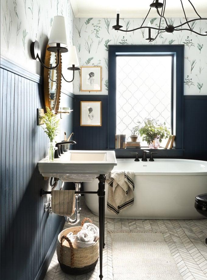 Behr Chimney - I Spy DIY - dark blue paint in bathroom