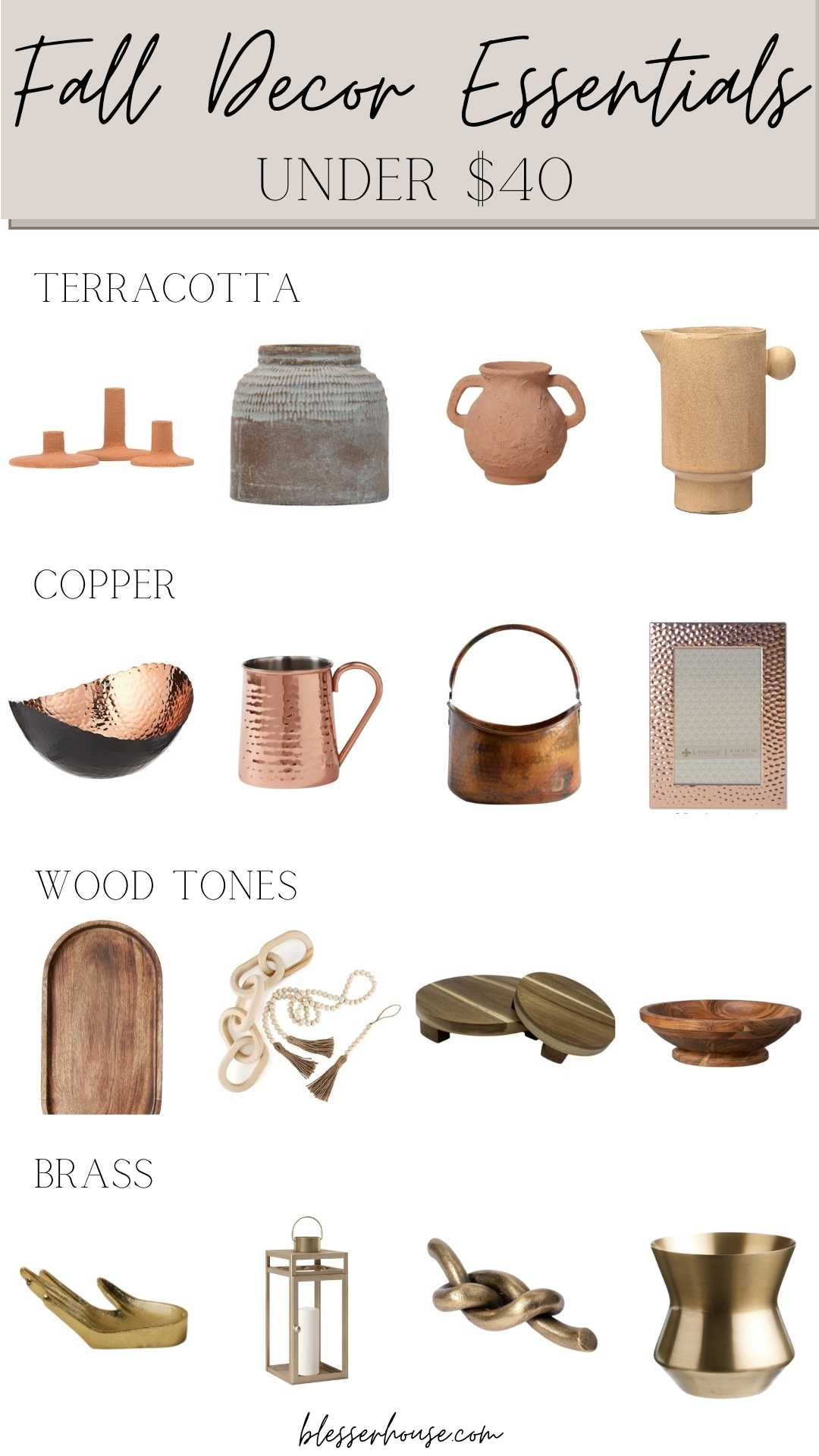 Fall Home Decor Under $40 - terracotta, copper, wood tones, and brass