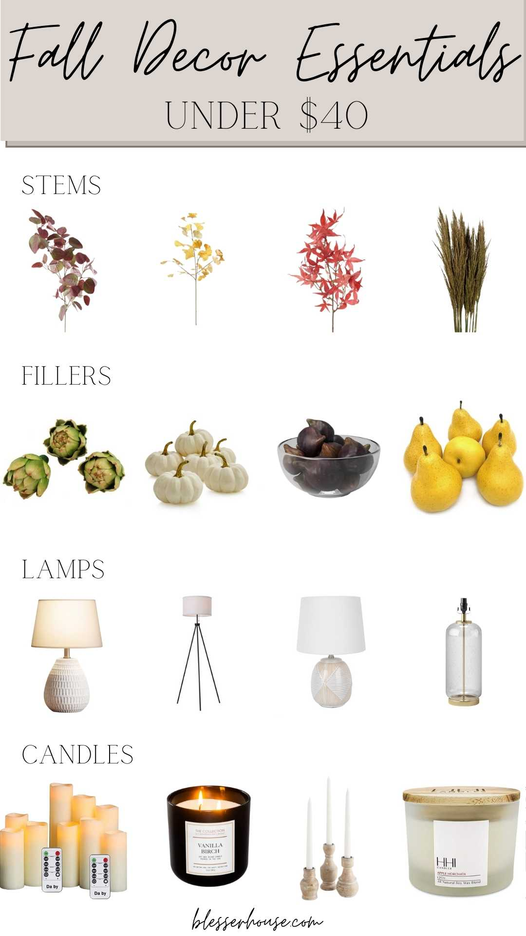Fall Home Decor Under $40 - stems, fillers, lamps, and candles