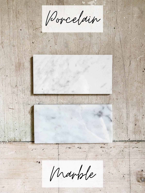 comparing marble tile and porcelain look porcelain tile