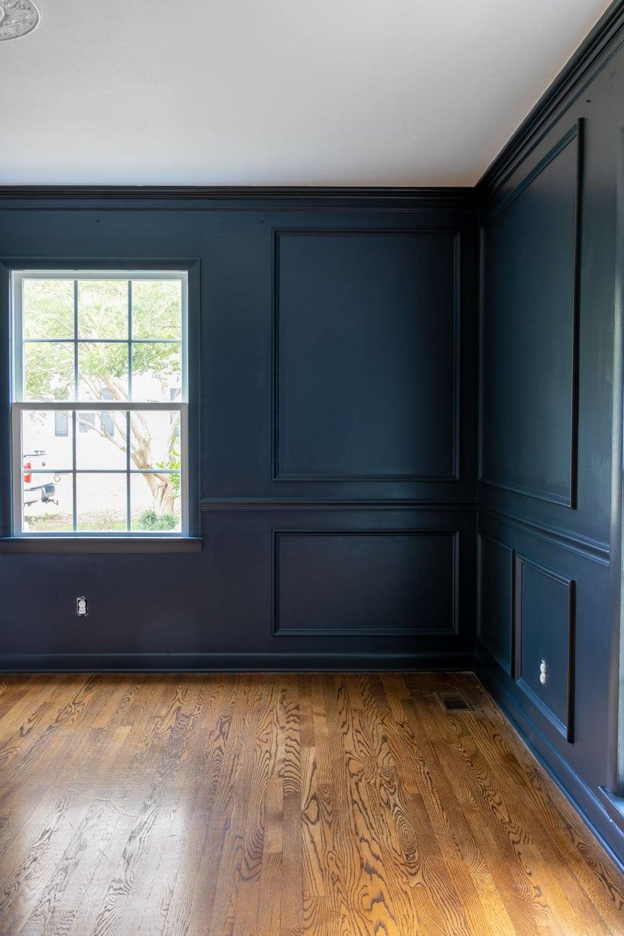 Romabio Blue Ridge Parkway - navy blue paint in dining room