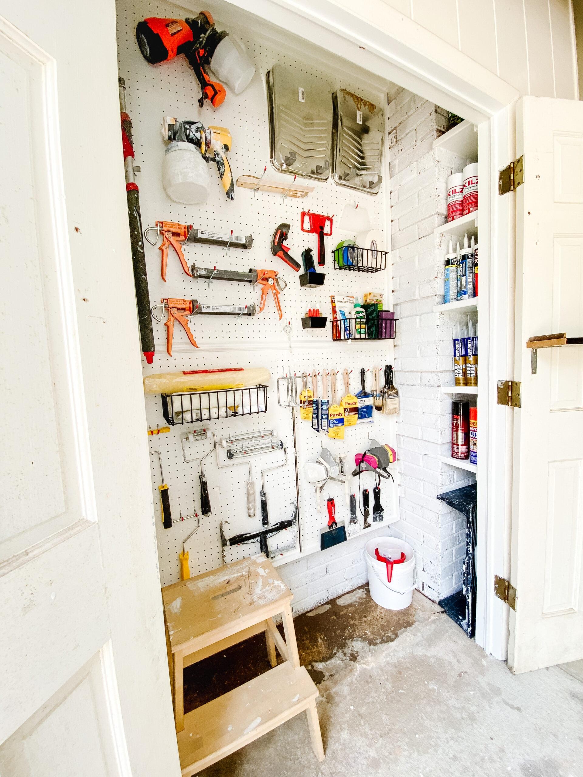pegboard organizer paint supplies