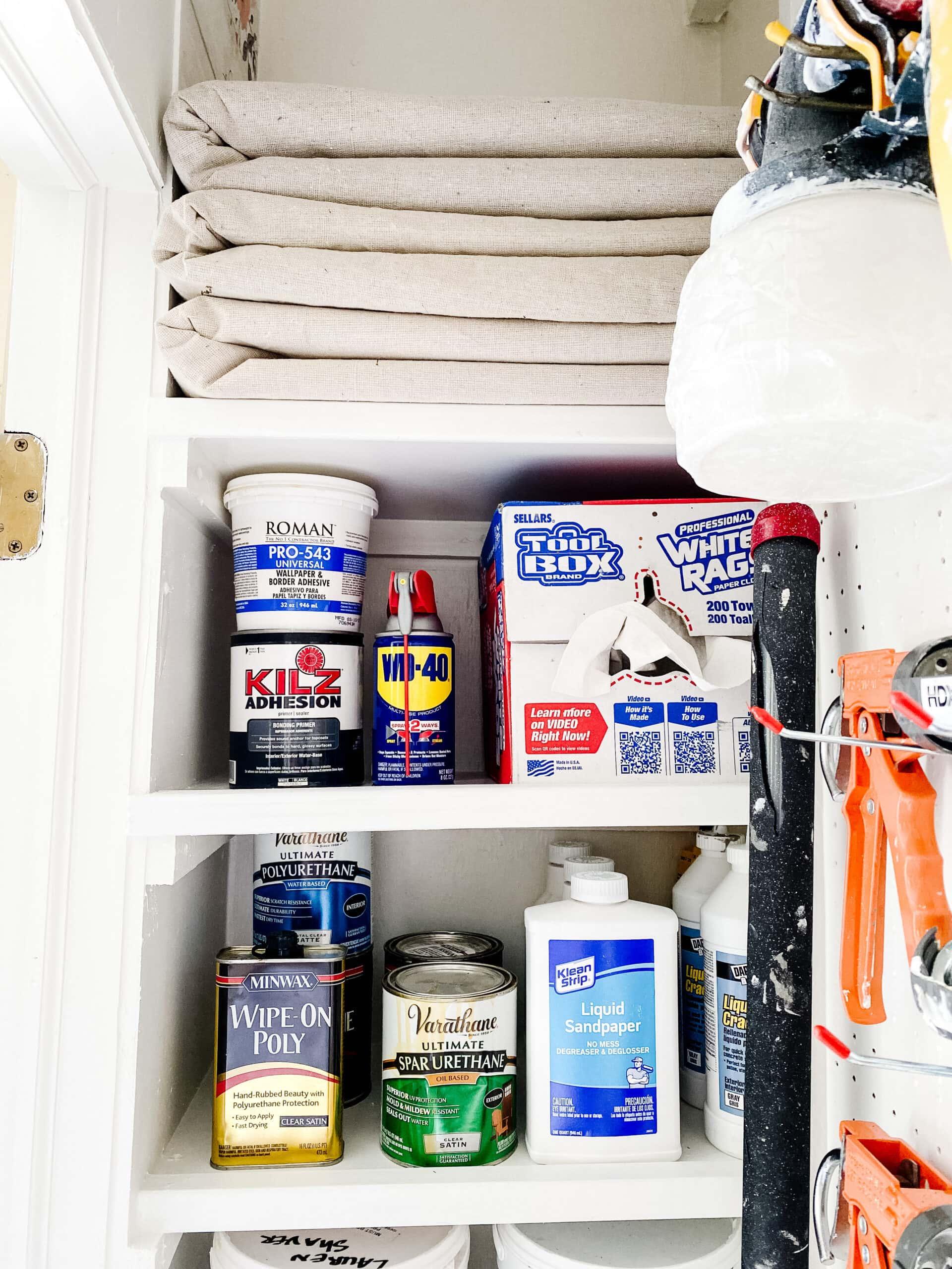 DIY shelves for paint storage