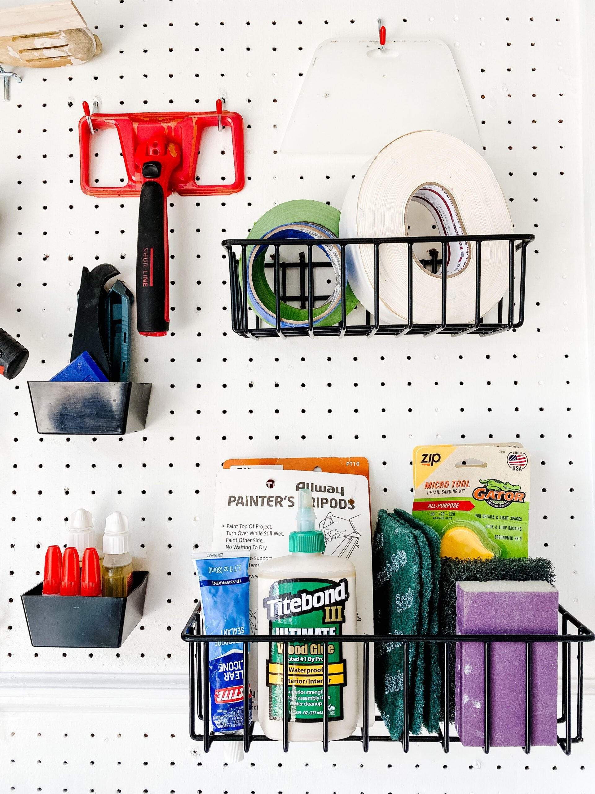 pegboard baskets for storing project supplies