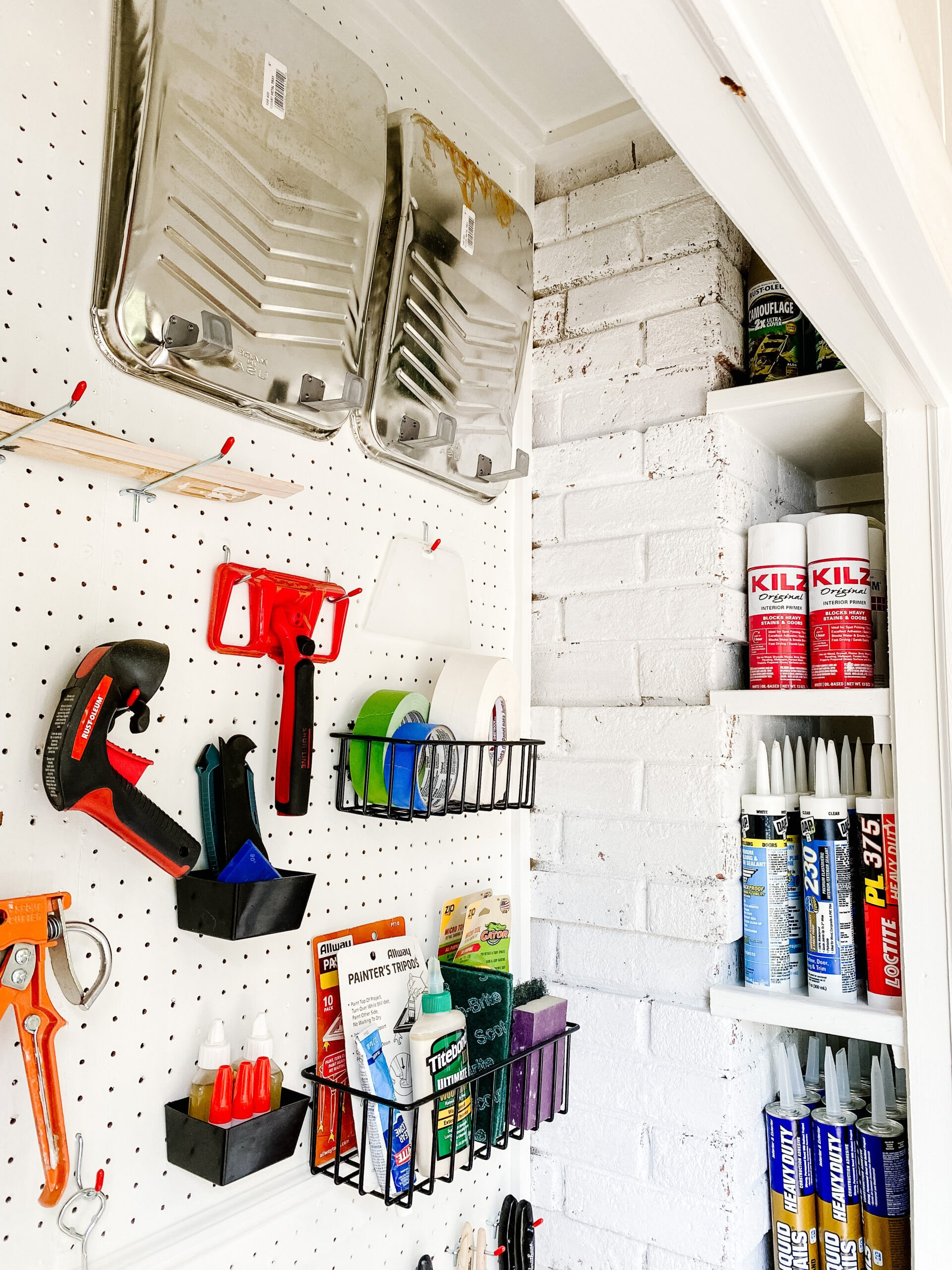 organizing spray paint storage with DIY shelves