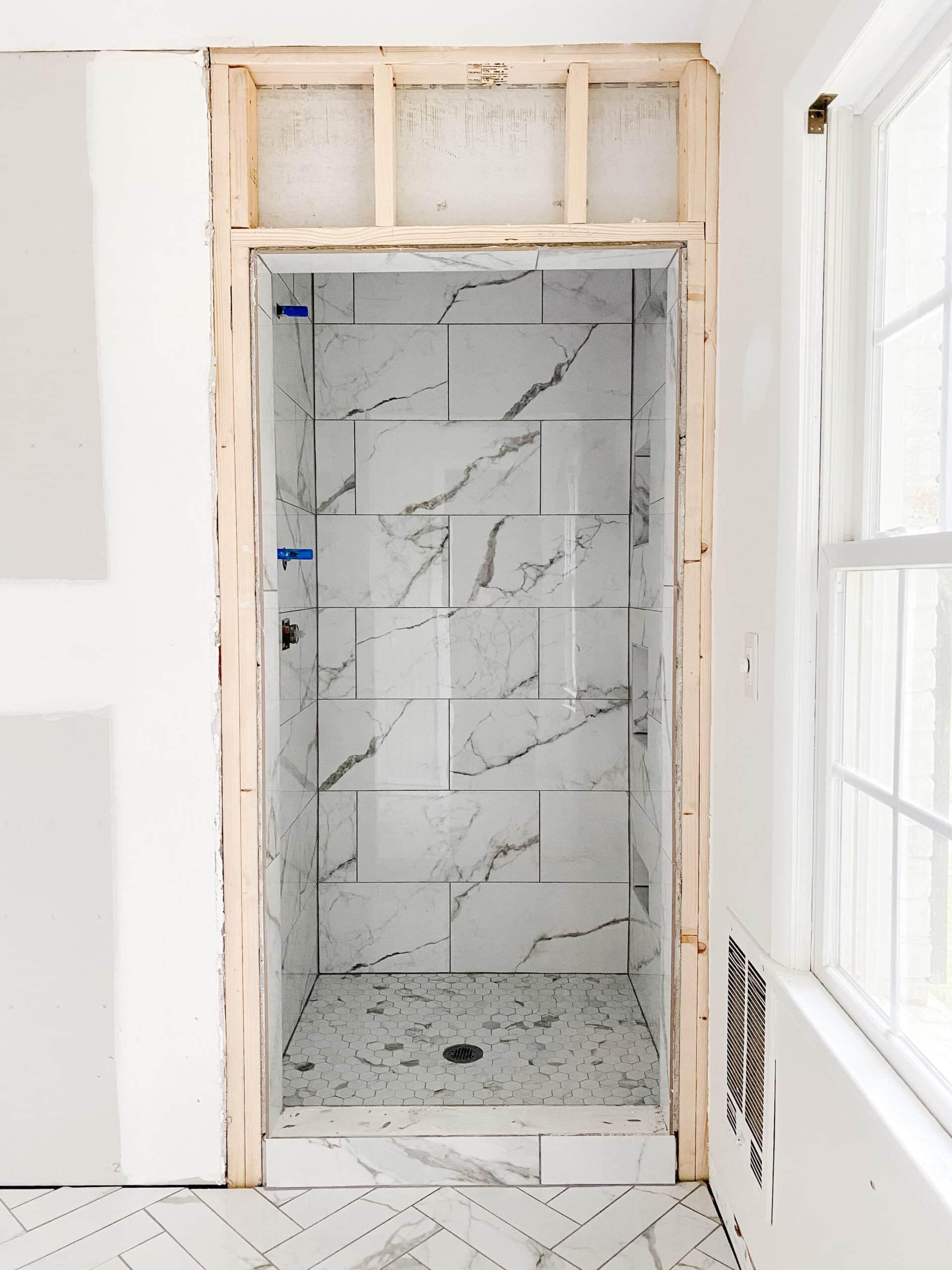 faux marble tile shower
