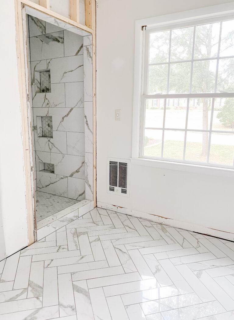 Faux Marble Herringbone Tile & Shower Progress