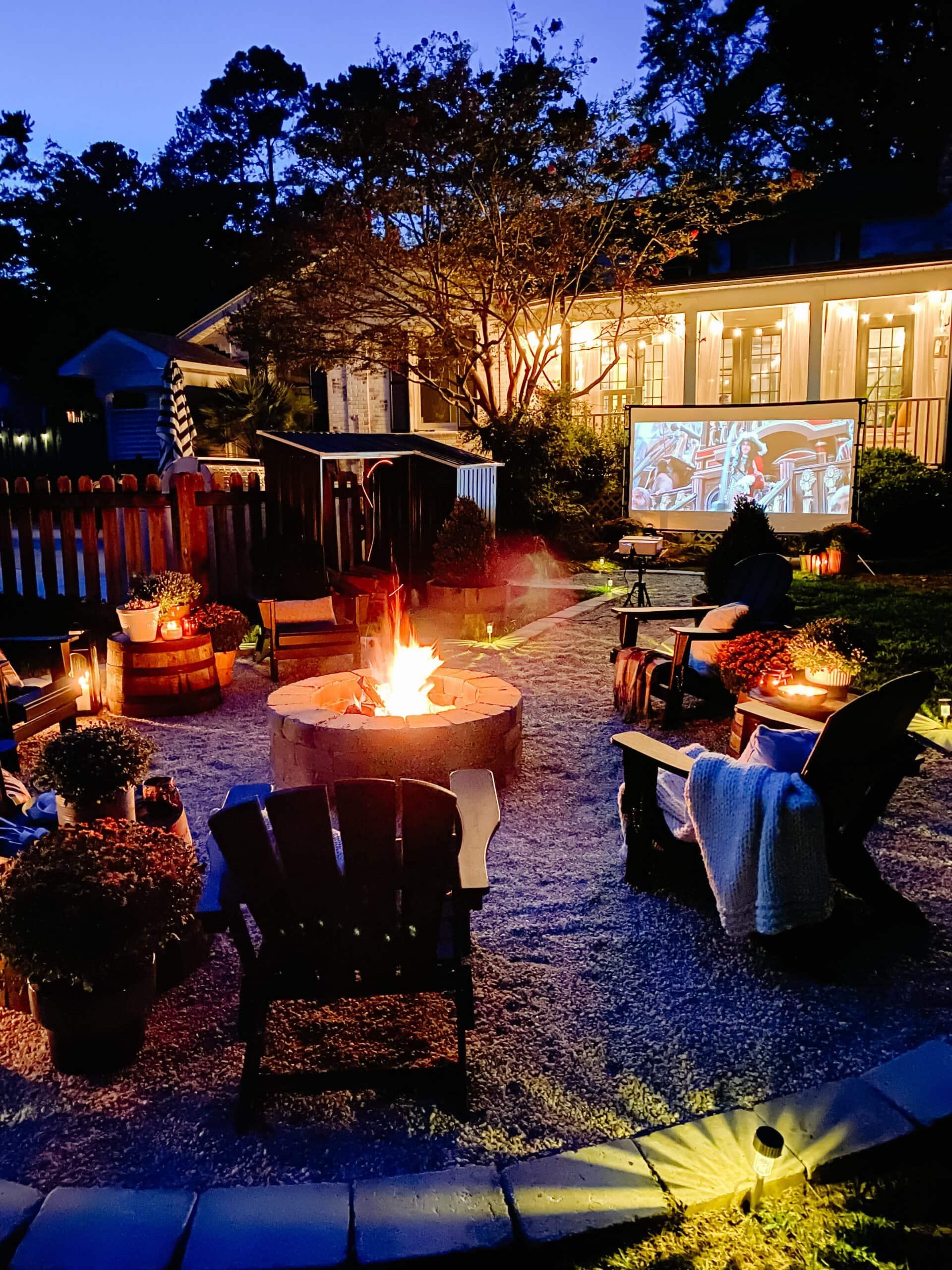 backyard fire pit ideas - outdoor movie theater