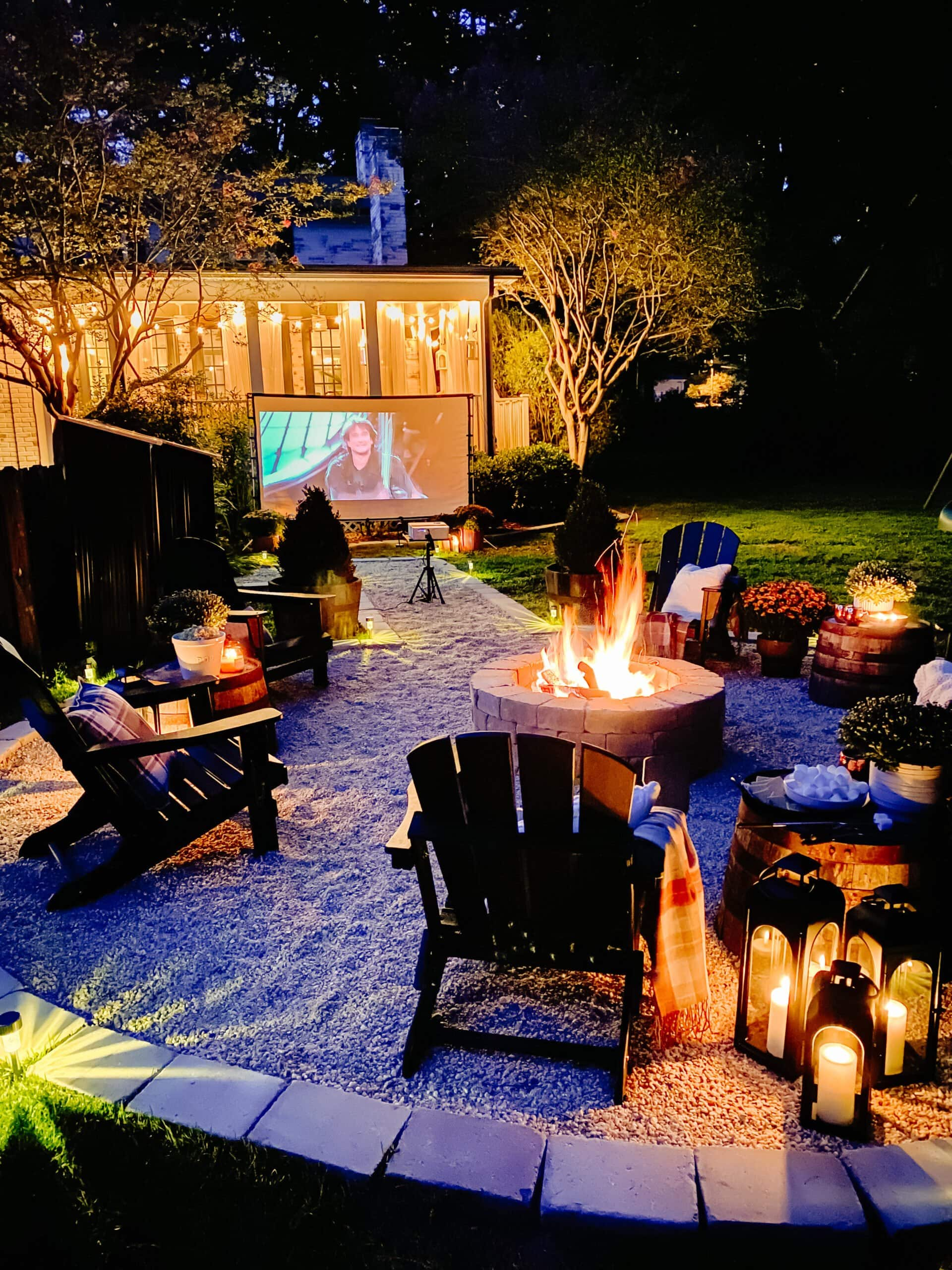 fire pit idea - outdoor movie theater backyard party