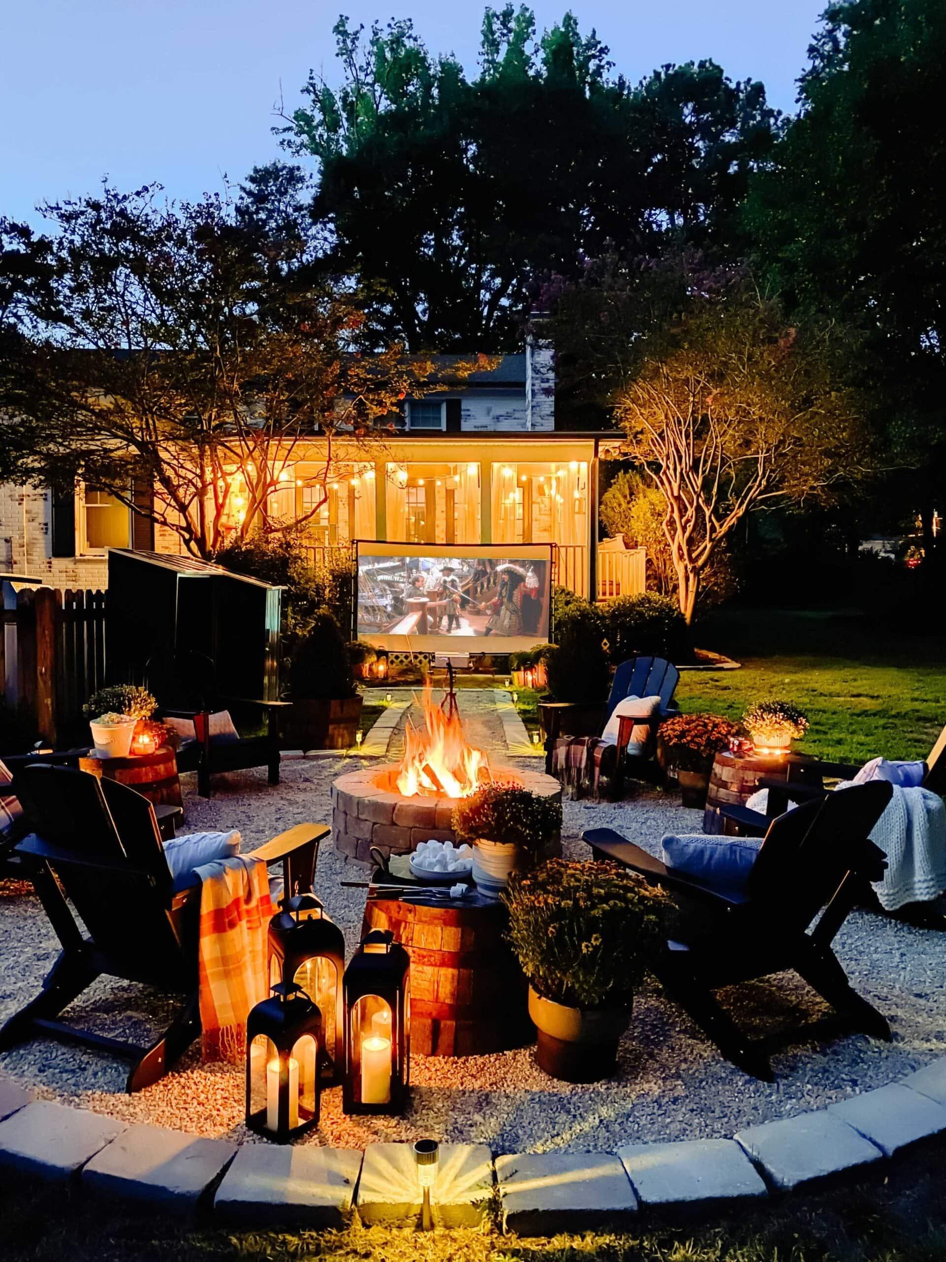 backyard movie night around a fire pit